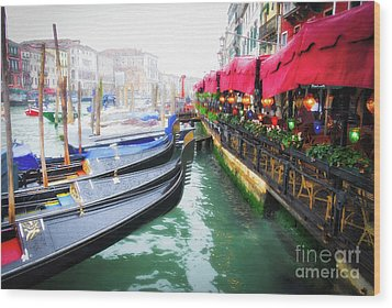 Grand Canal In Venice # 2 Wood Print by Mel Steinhauer
