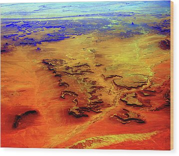 Wood Print featuring the photograph Grand Canyon 02 From 6mi Up by Irma BACKELANT GALLERIES