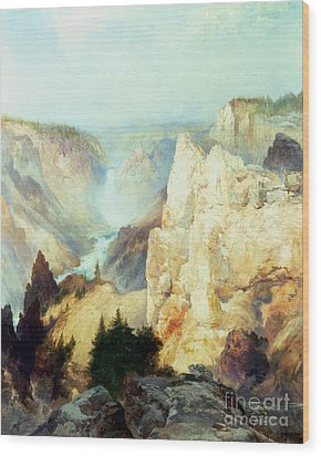 Grand Canyon Of The Yellowstone Park Wood Print by Thomas Moran