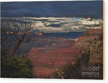 Grand Canyon Storm Clouds Wood Print by John A Rodriguez