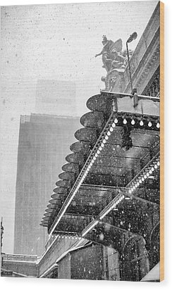 Wood Print featuring the photograph Grand Central Snow Day by Dave Beckerman