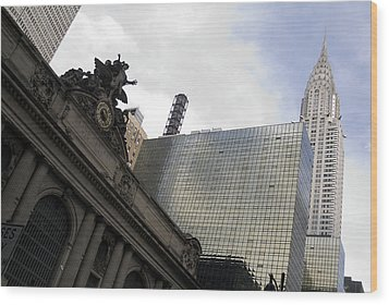 Wood Print featuring the photograph Grand Central And The Chrysler Building by Michael Dorn