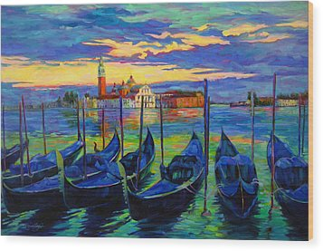 Wood Print featuring the painting Grand Finale In Venice by Chris Brandley