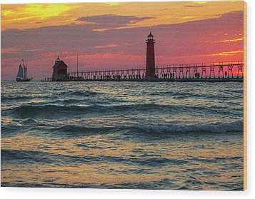 Grand Haven Pier Sail Wood Print
