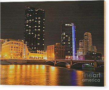 Grand Rapids Mi Under The Lights-2 Wood Print by Robert Pearson