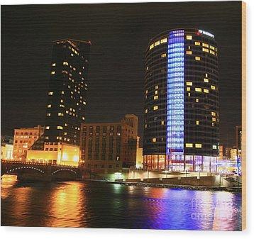 Grand Rapids Mi Under The Lights-4 Wood Print by Robert Pearson