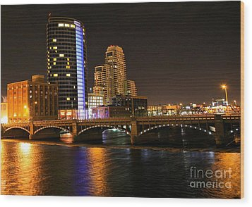 Grand Rapids Mi Under The Lights Wood Print by Robert Pearson