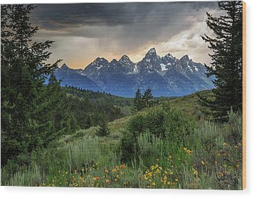 Wood Print featuring the photograph Grand Stormy Sunset by David Chandler
