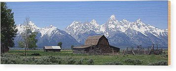 Grand Teton Barn Panarama Wood Print