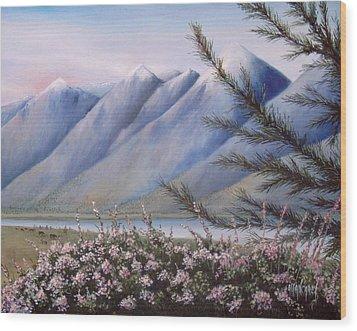 Grand Teton Mountains Wood Print by Allan Carey