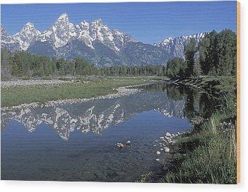 Grand Teton Reflection At Schwabacher Landing Wood Print by Sandra Bronstein