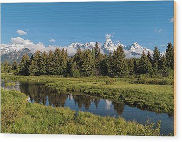 Grand Teton Reflection Wood Print by Brian Harig