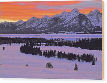Grand Teton Winter Sunset Wood Print