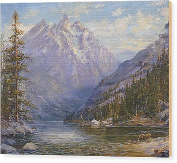 Grand Tetons And Jenny Lake Tryptych Center Wood Print by Lewis A Ramsey