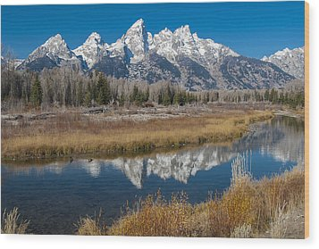 Wood Print featuring the photograph Grand Tetons by Gary Lengyel