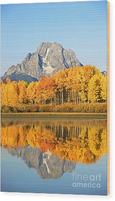 Grand Tetons In Autumn 2 Wood Print by Ron Dahlquist - Printscapes