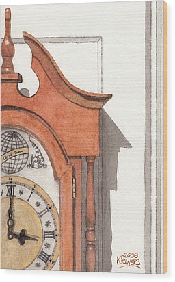 Grandfather Clock Wood Print by Ken Powers