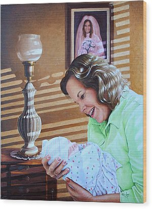 Wood Print featuring the painting Grandma And Granddaughter by Mike Ivey