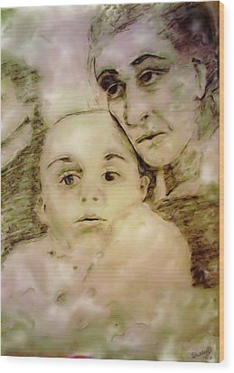 Wood Print featuring the drawing Grandmas Baby by Shelley Bain