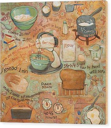 Grandmas Bread Recipe Wood Print by Jen Norton