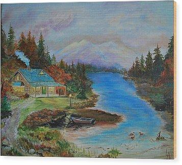 Grandmas Cabin Wood Print by Leslie Allen