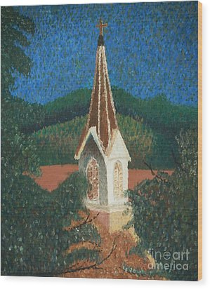 Wood Print featuring the painting Grandmas Church by Jacqueline Athmann