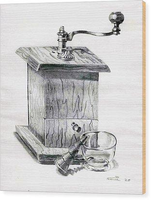 Grandma's Coffee Grinder Wood Print