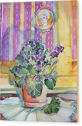 Grandmas' Violets Wood Print by Mindy Newman