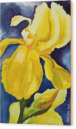 Grandma's Yellow Iris Wood Print by Janis Grau