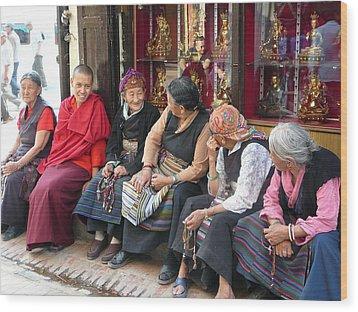 Grandmothers' Talk After Morning Prayer Wood Print by Dagmar Batyahav