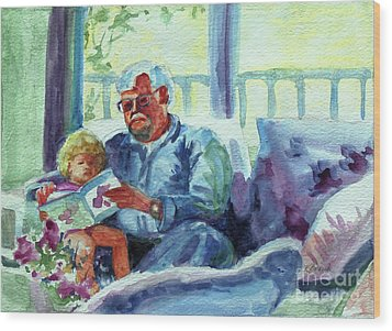 Wood Print featuring the painting Grandpa Reading by Kathy Braud