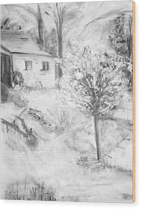 Grandpa's Backyard Iv Wood Print by Helena Bebirian