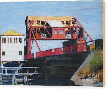 Granite Street Drawbridge At Neponset River Wood Print by Deb Putnam