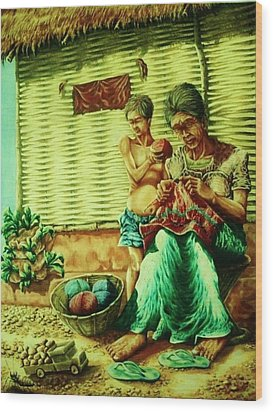 Granny And Grand Son Wood Print by Pralhad Gurung