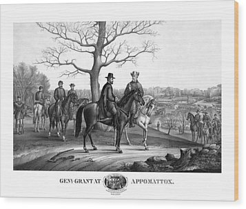 Wood Print featuring the mixed media Grant And Lee At Appomattox by War Is Hell Store