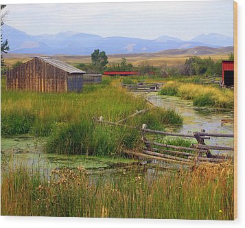 Grant Khors Ranch Deer Lodge  Mt Wood Print by Marty Koch