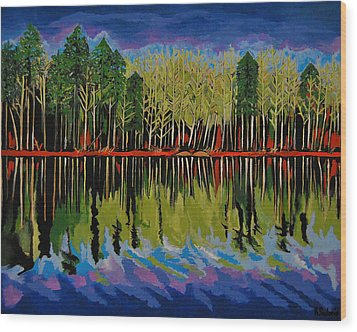 Grant's Lake Reflections Wood Print by Kathleen Sartoris