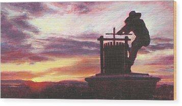Grape Crusher Napa Valley Sunset Wood Print by Takayuki Harada