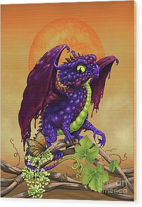 Wood Print featuring the digital art Grape Jelly Dragon by Stanley Morrison
