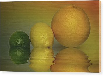 Wood Print featuring the photograph Grapefruit Lemon And Lime Citrus Fruit by David French