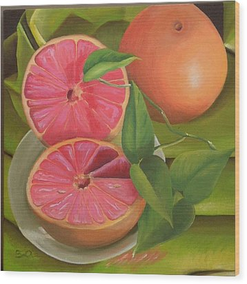 Grapefruit On Fabric Wood Print by Barbara Auito