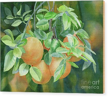 Grapefruit With Background Wood Print