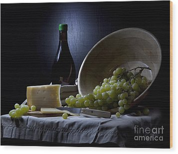 Grapes And Cheese Wood Print by Irina No