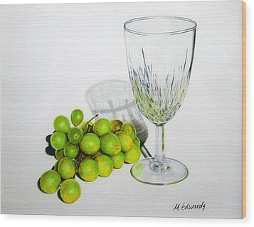 Grapes And Crystal Wood Print by Marna Edwards Flavell