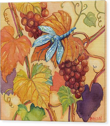 Grapes And Dragonfly Wood Print by Peggy Wilson