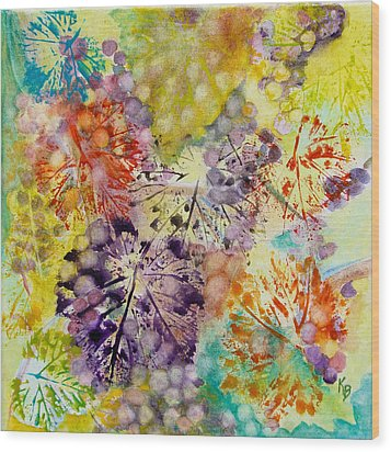 Grapes And Leaves I Wood Print by Karen Fleschler