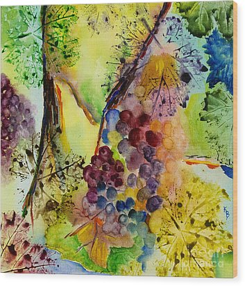 Grapes And Leaves IIi Wood Print by Karen Fleschler