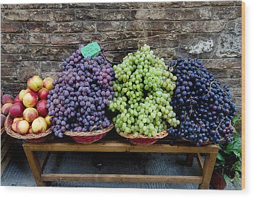 Grapes And Nectarines On A Bench Wood Print by Todd Gipstein