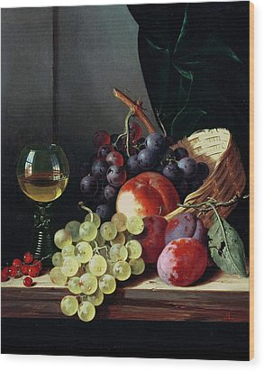 Grapes And Plums Wood Print by Edward Ladell
