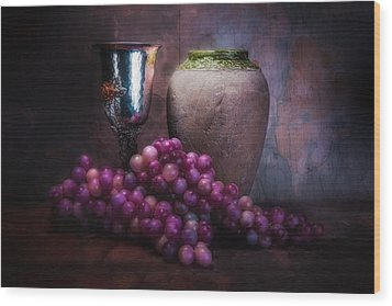 Grapes And Silver Goblet Wood Print